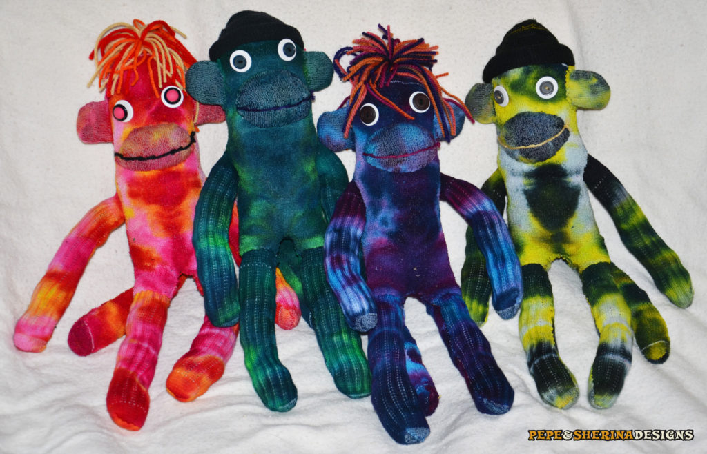 Pepe & Sherina Designs Tie Dye Sock Monkeys